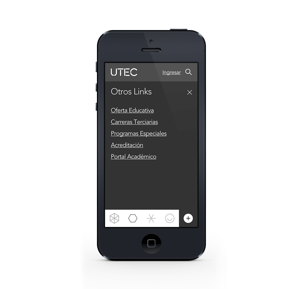 Mobile view of website menu