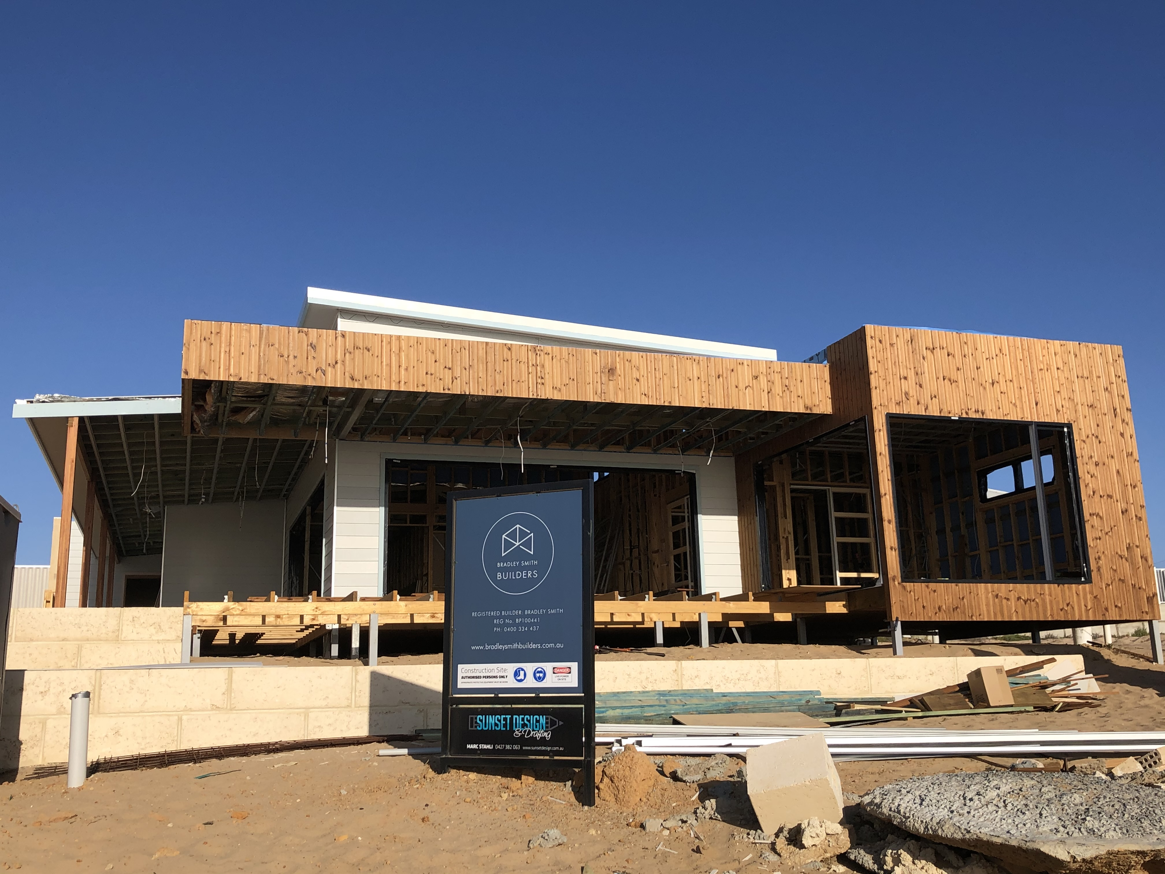 New home construction in Horrocks designed by Sunset Design & drafting