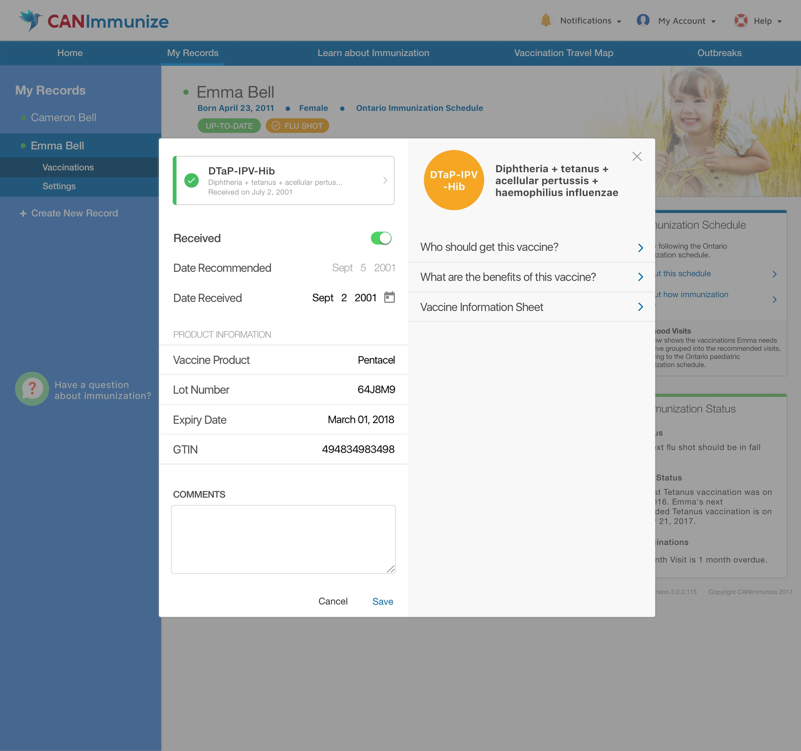 modal UX design for canimmunize webclient