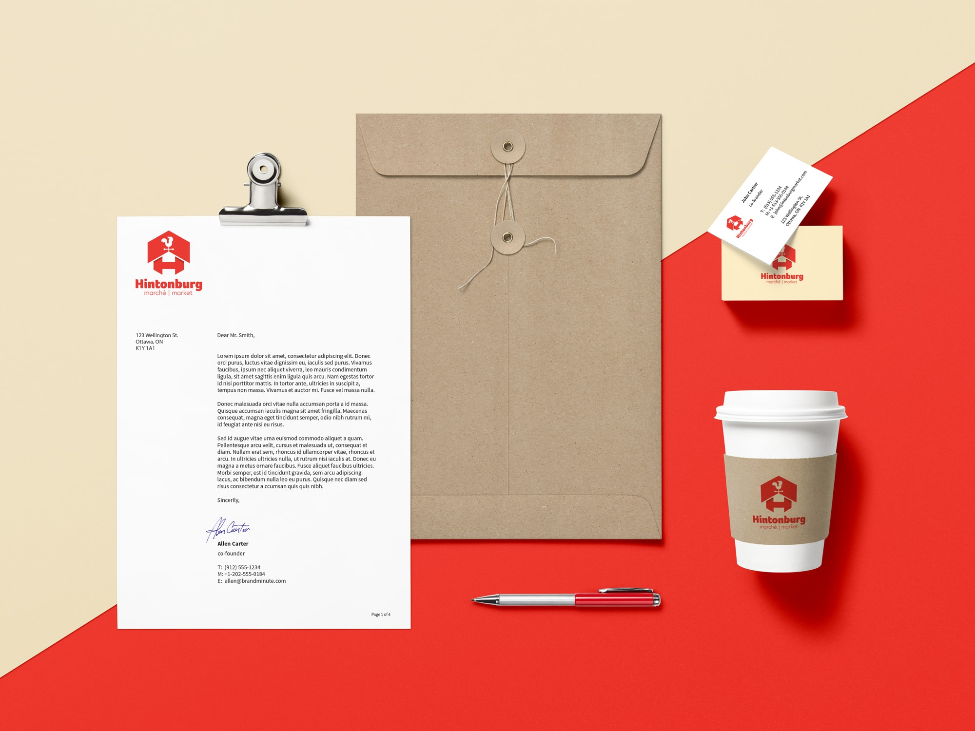 Branding materials including stationery, coffee cup, business card
