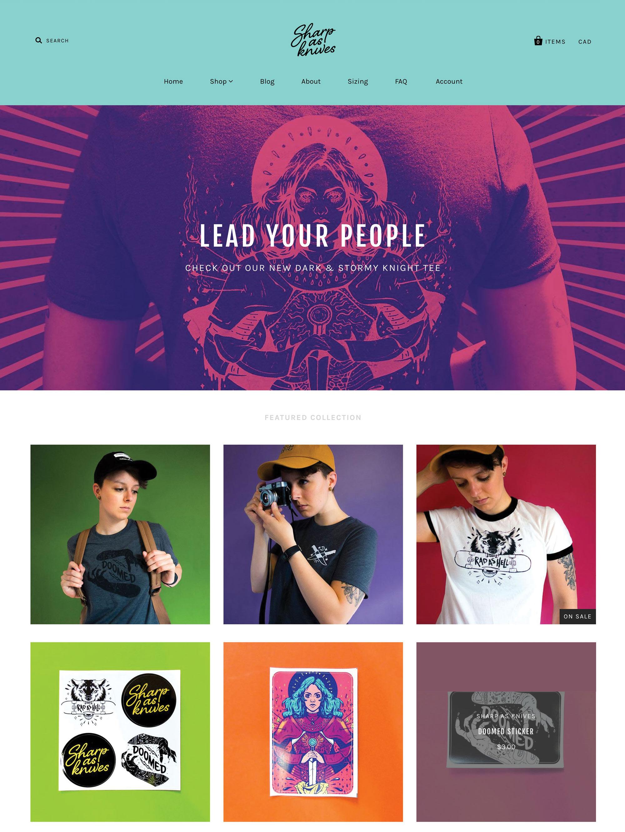 Sharp as Knives Shopify Website design
