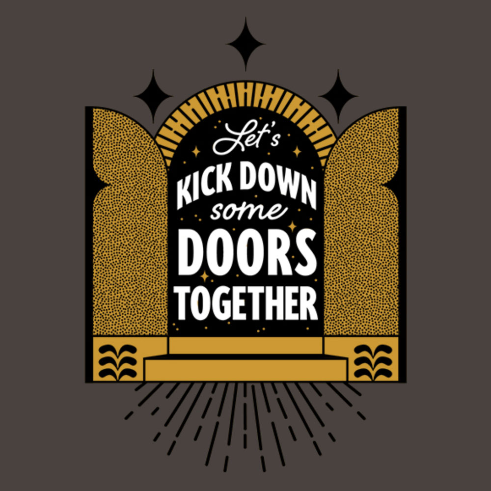 """Let's kick down dome doors together"" t-shirt design"