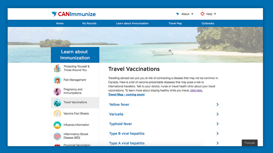 Learn.CANImmunize web design