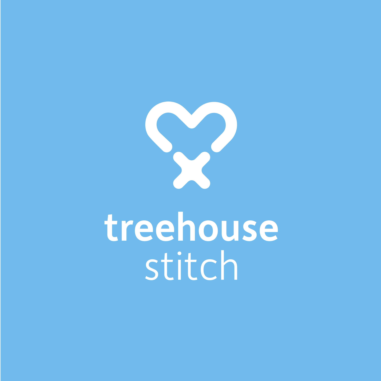 white on blue Treehouse Stitch Logo