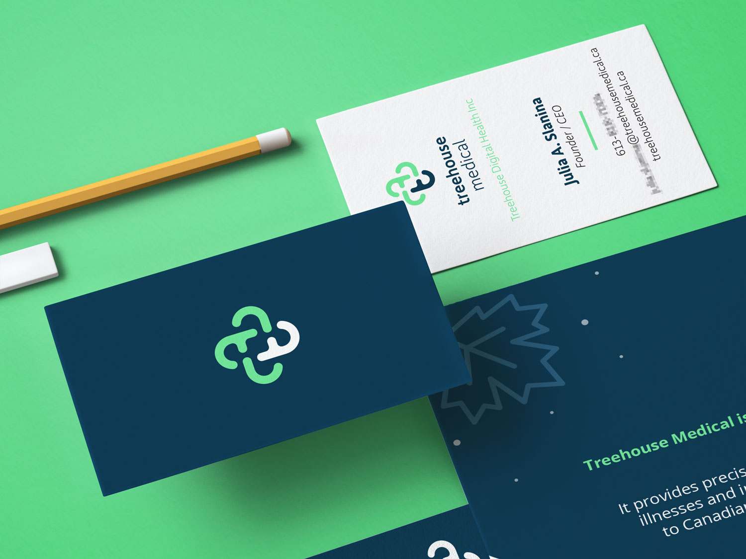 Branding collateral (business card and brochure) for Treehouse Medical
