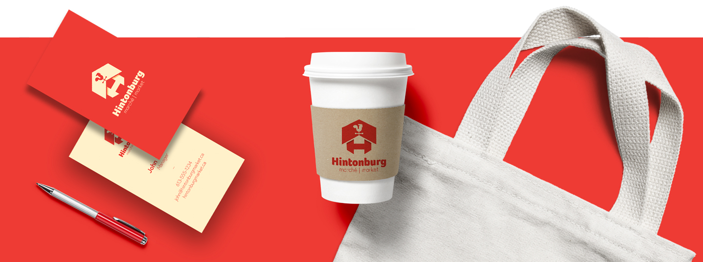 Business cards, pen, coffee cup and tote bag with hintonburg market branding identity