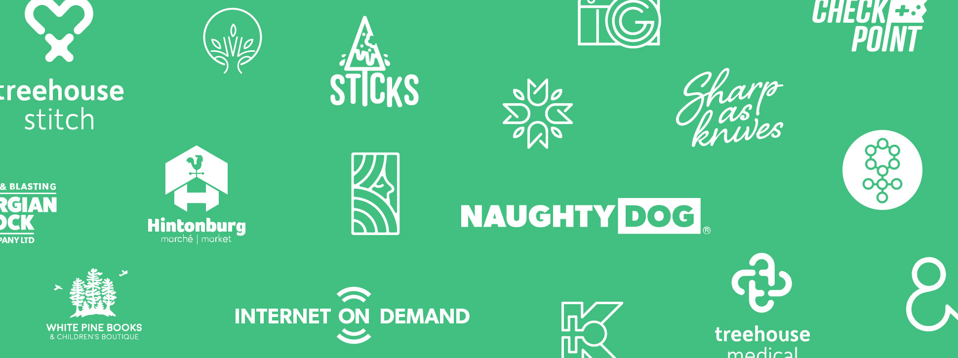 compilation of white logos on green background