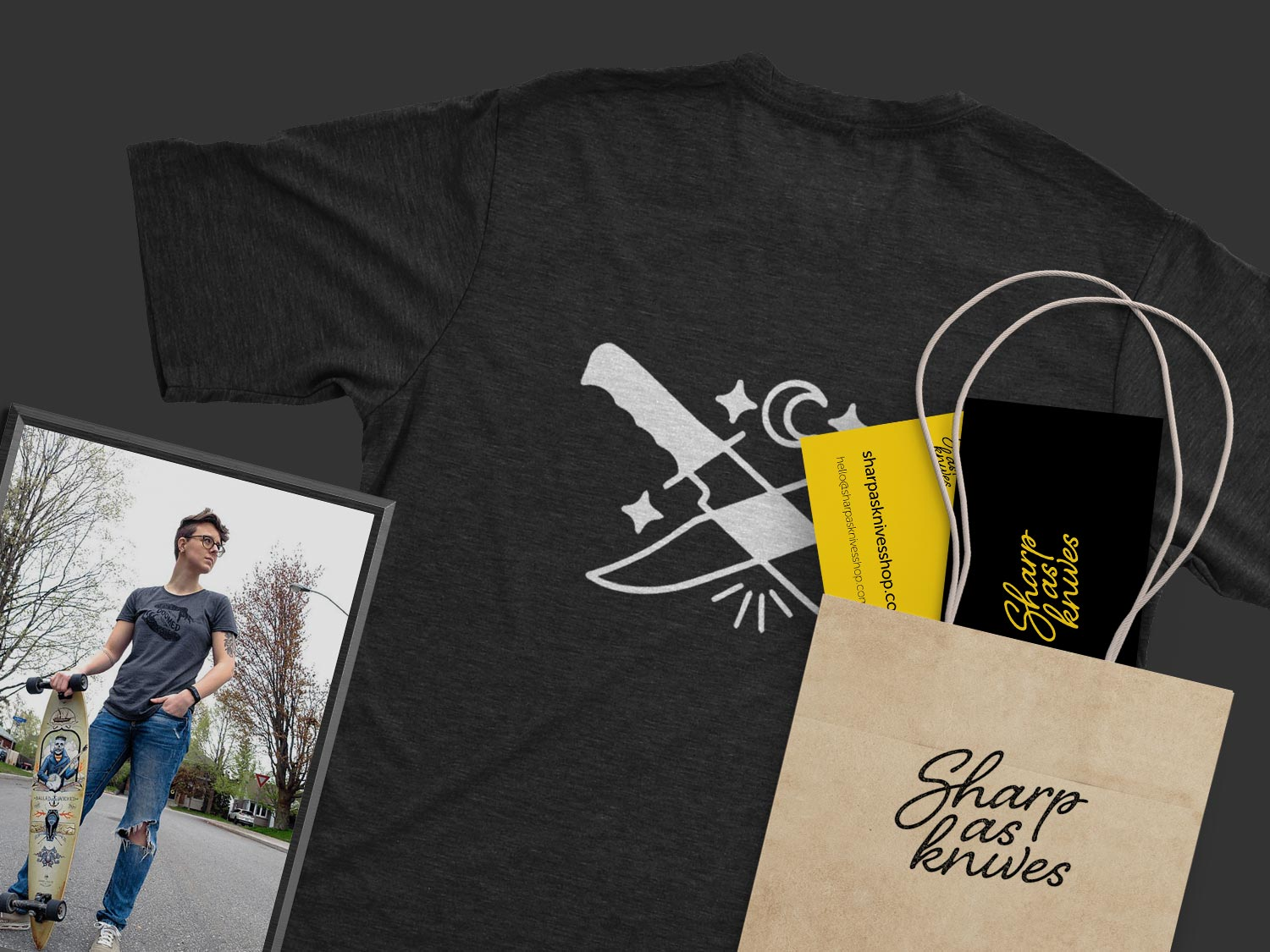 Branding collateral (t-shirt design, business cards, and bag) for Sharp as Knives