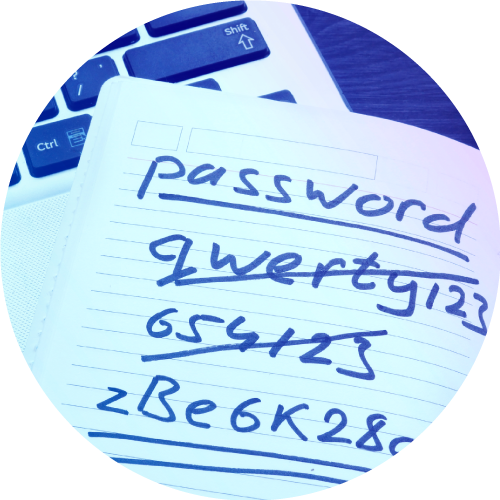 password crossed out in a notebook