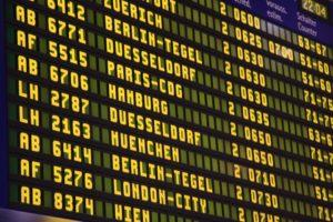 An airport scoreboard.