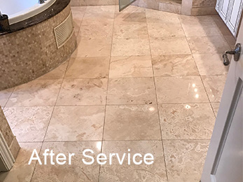 Burr Ridge IL 60527 Travertine Full Restoration to Satin Polish After