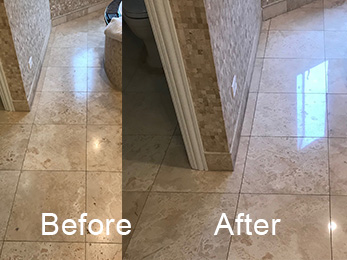 Burr Ridge IL 60527 Travertine Full Restoration to Satin Polish After 3