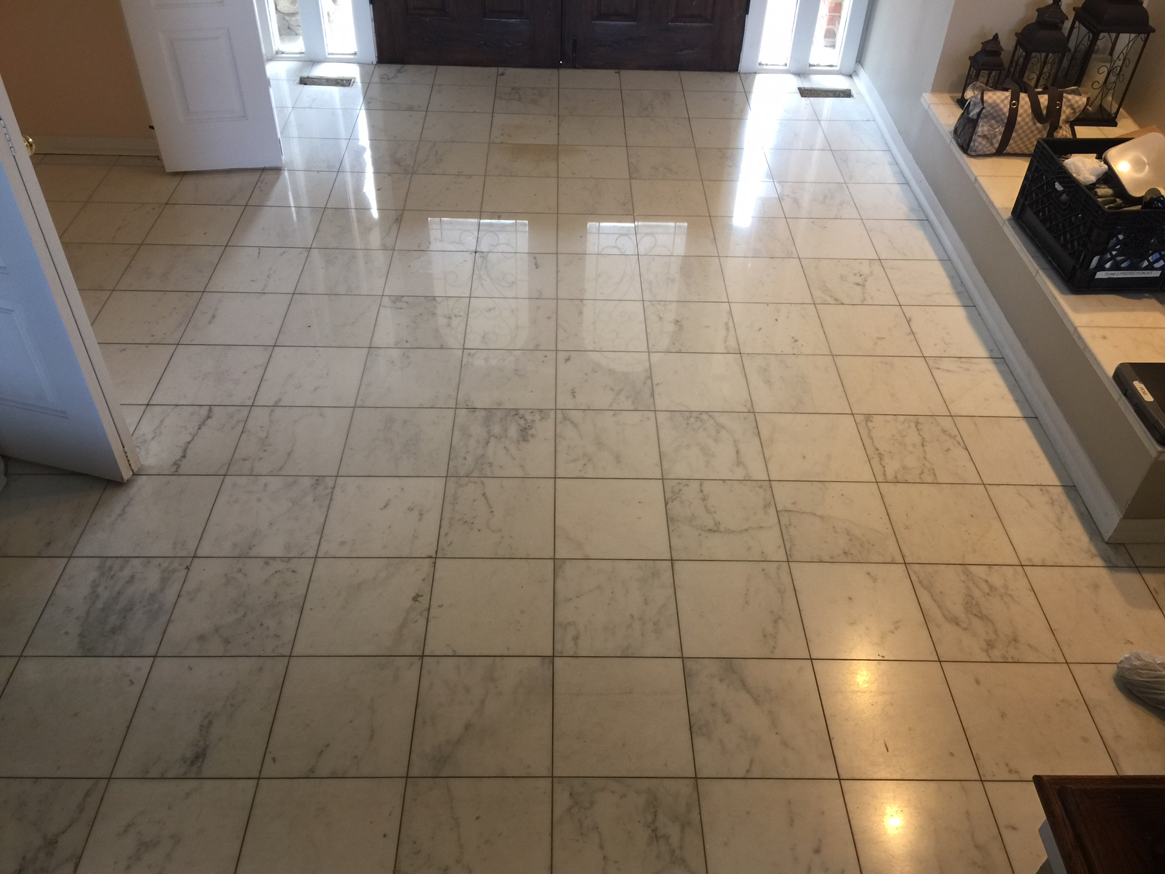 Long Grove Natural Stone to Satin High Polish White Marble Floor