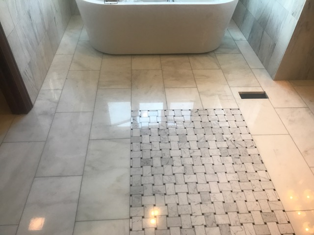 Natural Stone Full Restoration to High Polish White Marble Bathroom Floor Before 2