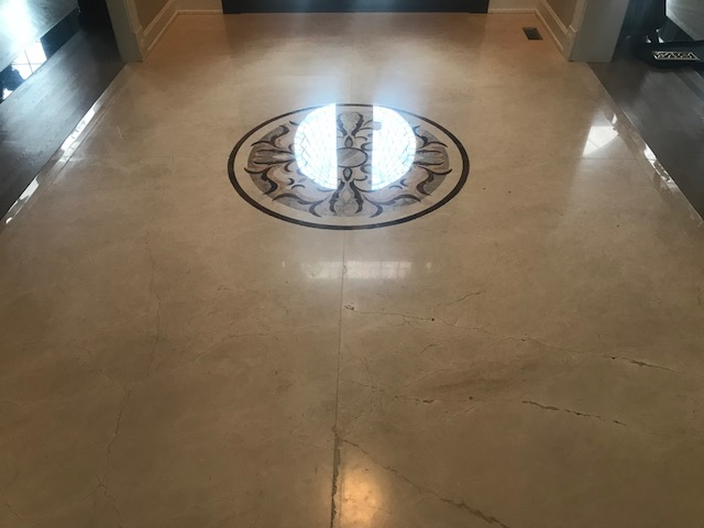 Naperville Full Restoration to High Polish Marble Floor Before 2