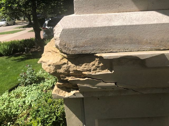 broken cast stone before reparation