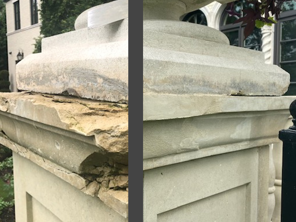damaged cast stone before reparation