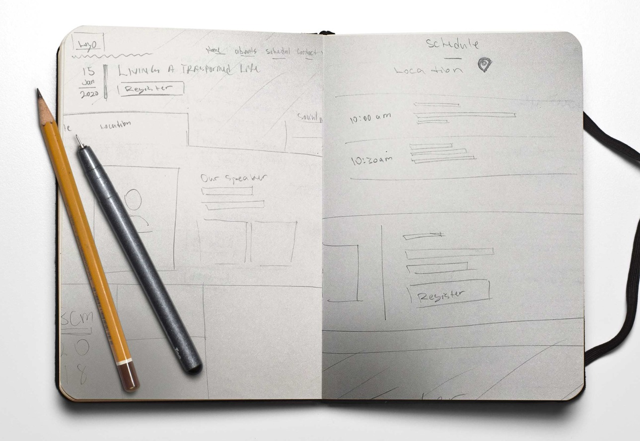 Website sketch wireframes