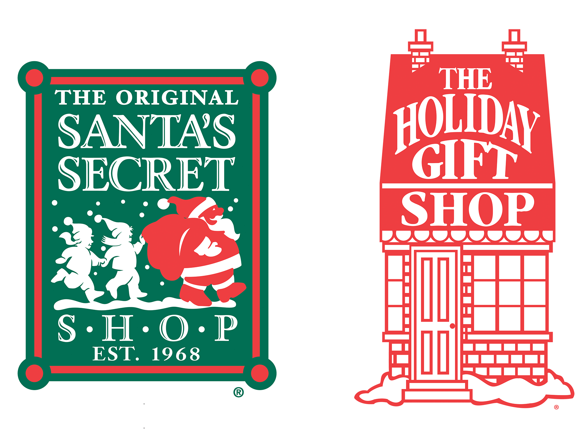 the original sanat's secret workshop and the holiday gift shop logos