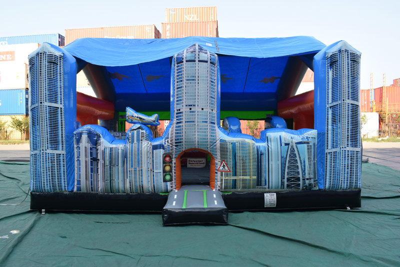 The City Walk is 17' L x 20' W x 13' H. Great for Toddlers and covered to help keep the hot sun off the young children.