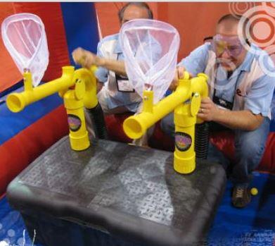 "The NEW Extreme Cannonball Blaster™, awarded ""Best New Product"" by IAAPA at the 2010 Trade Show, is the most exciting product introduced to the entertainment industry in years! Participants shoot target nets with SOFT, foam balls. This new game is extremely safe, and is loads of fun! (22' long x 10' wide x 10' tall)"
