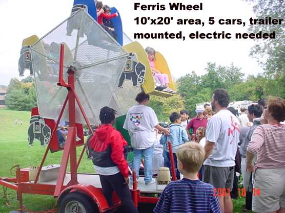 The Kiddie Ferris Wheel is great for the younger children at the event. The unit has 5 cars and can hold up to 10 children. (10' long x 20' wide x 12' tall)