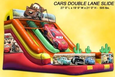 This large double slide will wow the kids with the Cars theme from one of their favorite movies. (27' Long x 20' Wide x 21' tall)