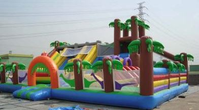 The Jurassic Fun City is jumbo size activity center. The inside includes 3 slides, small rock climb area and various other fun pop-ups. The kids will have lots of fun bouncing and sliding on this fun-filled attraction. (26' long x 40' wide x 18' tall)