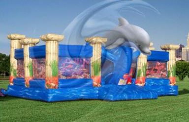 Atlantis is a large activity attraction that features a giant dolphin to greet you, two large bounce areas, a giant slide, pop-up sharks and a huge treasure chest. (36' long x 35' wide x 17' tall)