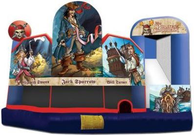 A combination or bouncing, sliding, and obstacles fill this fun Pirates of the Caribbean Theme Combo. (18' long x 19' wide x 15' tall)