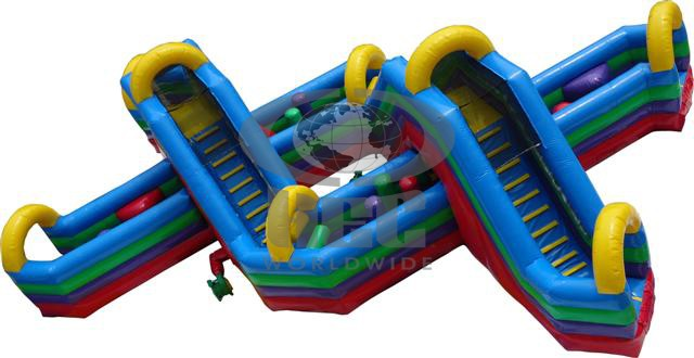 "The Helix Obstacle Course journeys into the 3rd dimension by having each lane go over and under each other creating a new ""twist"" in inflatable obstacle course design. With a great combination of pop ups, pop outs, crawl tubes, climb and slide, the Helix is designed to provide endless amounts of challenging fun! (40' long x 22' wide x 14' tall). Double Helix (80' Long) Obstacle Course available for larger events."