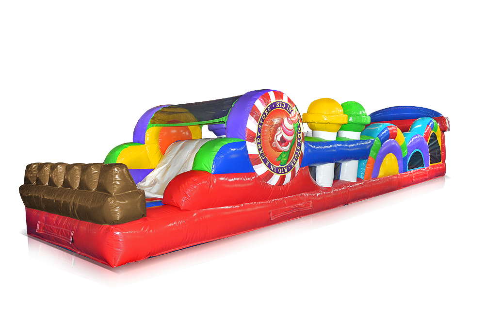 The Candy Store Obstacle Course captures the fun of running through a larger than life candy store surrounded by giant candy! Kids can dash, climb, crawl and slide their way through 40 feet of bright colors and sweet obstacles, and they won't want to leave! Great for the younger age groups.