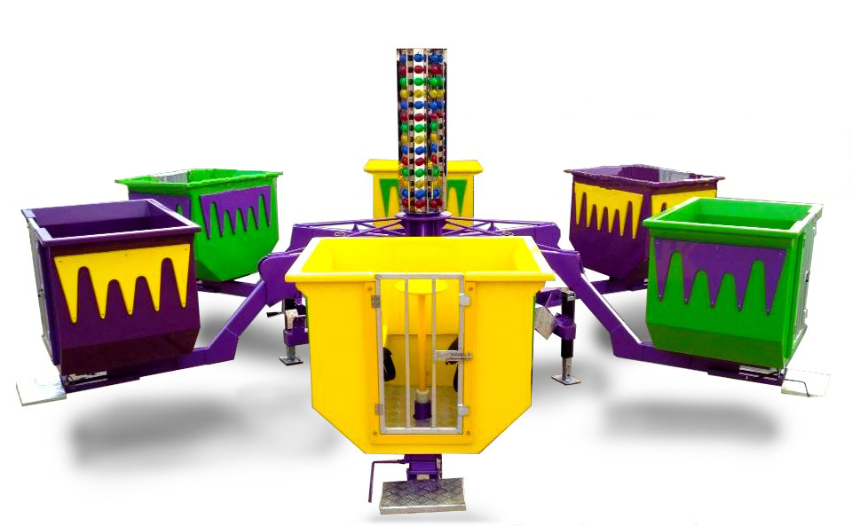 This is the famous Dixie Fun Machines Turbo Tubs of Fun Amusement ride. Our Turbo Tubs is a high quality spin ride. The whole ride spins in a circle while the guests spin as fast or as slow as they want their individual car. This is like the Teacup Amusement ride. 40' D Note: Max 24 people at a time