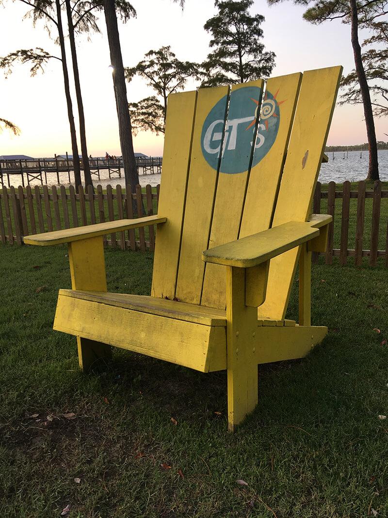 Giant chair outside restaurant