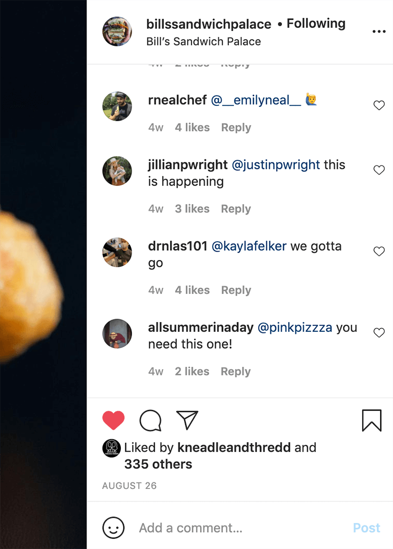 Instagram comment tagging