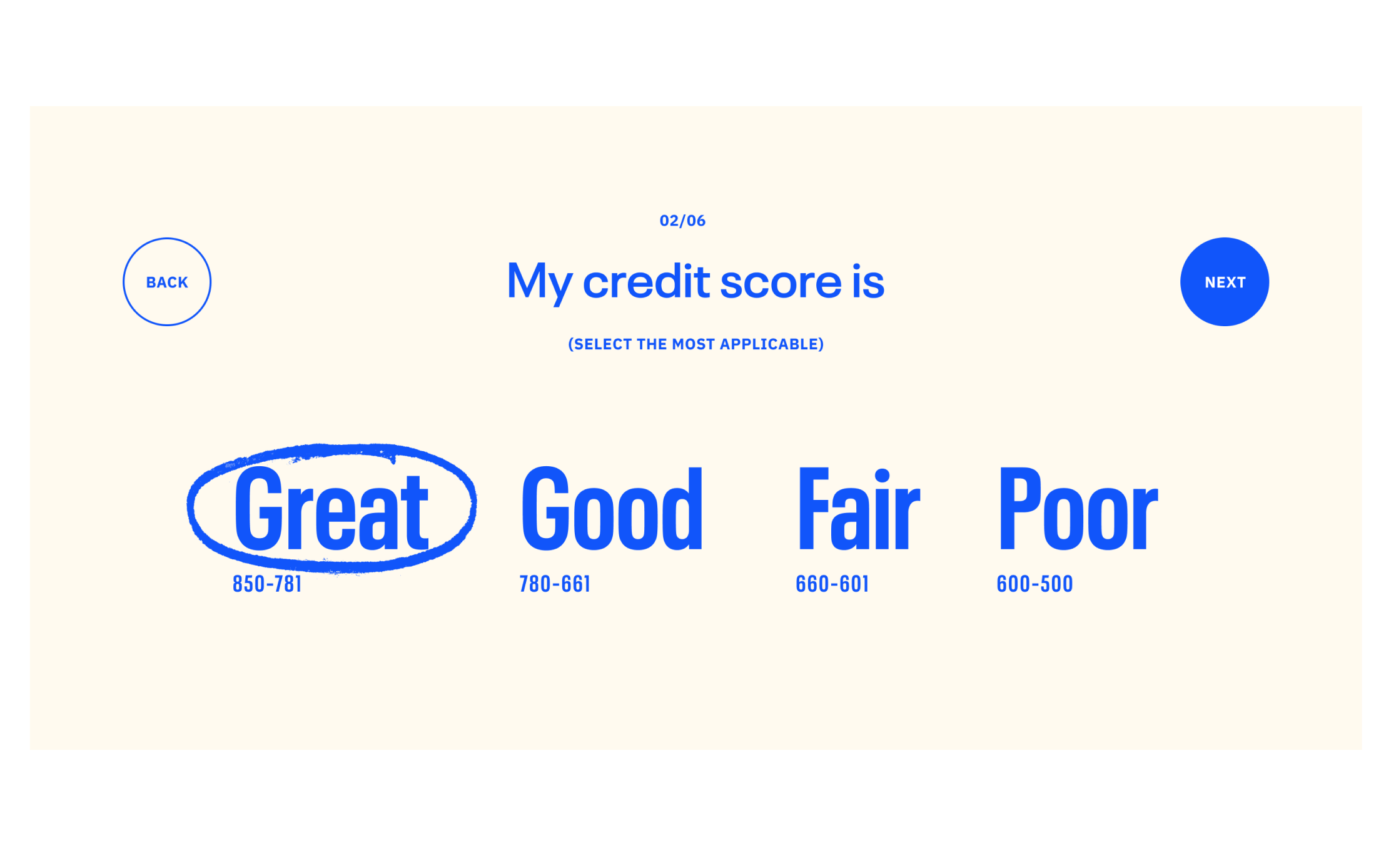 UI of a credit score selector with options 'Great', 'Good', 'Fair', and 'Poor'