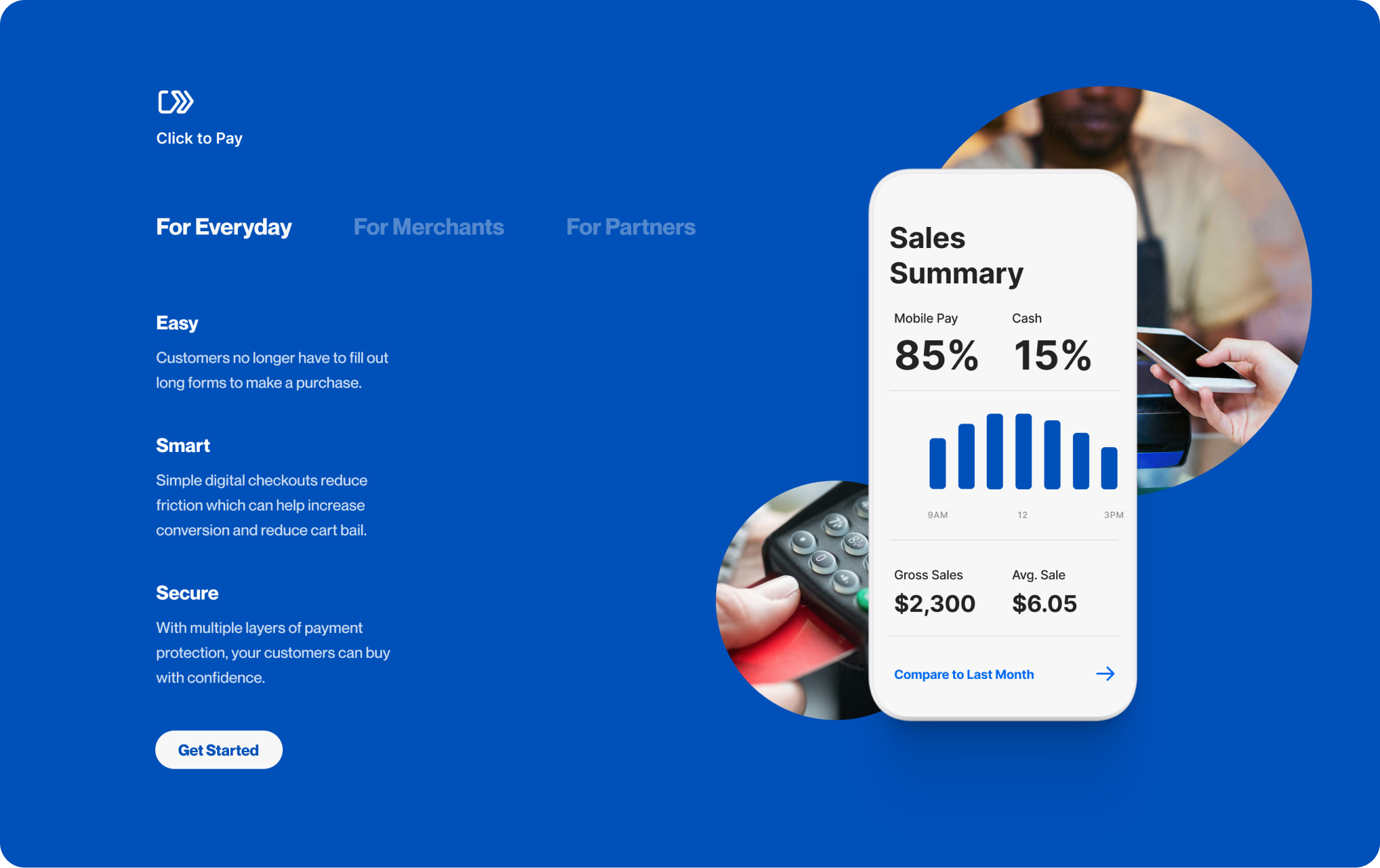 UI design of a tab selection for everyday customers, merchants or partners of Visa