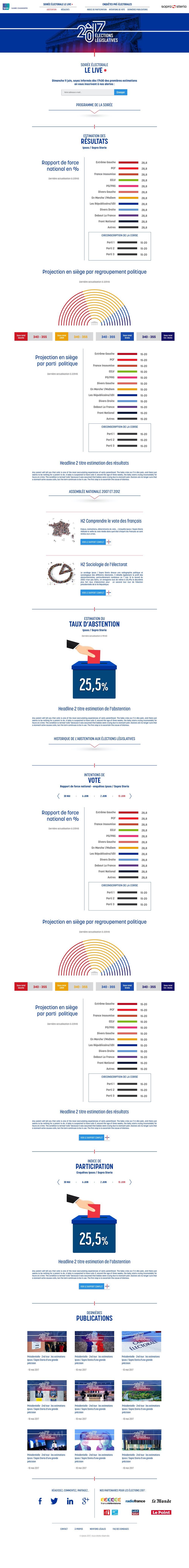 Legislative elections landing page