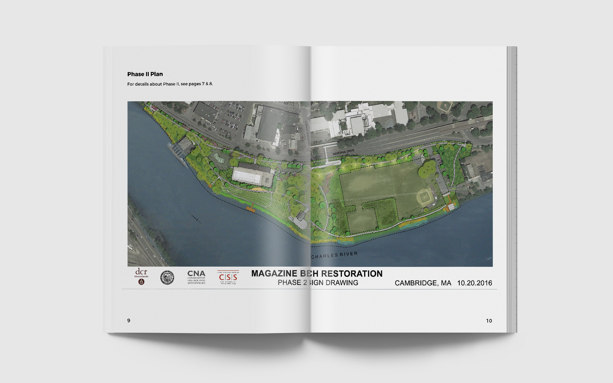 Pages Outlining Phase II Plan Detailing Proposed Park Designs