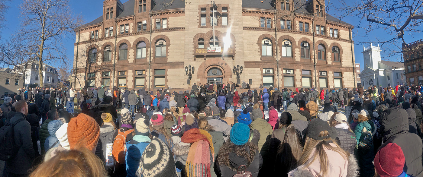 Crowd during MLK Day of Service in front of Cambridge City Hall