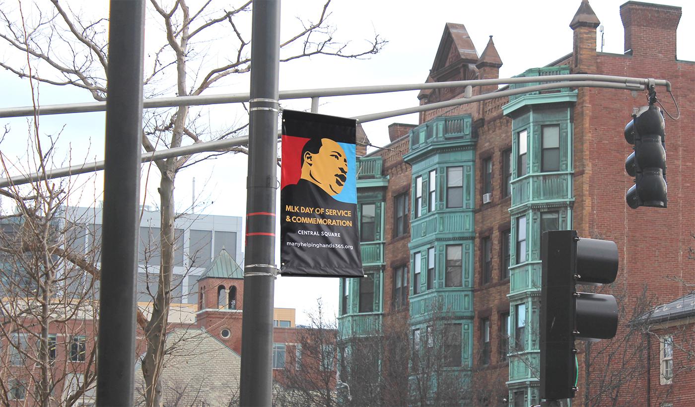 Banner overlooking Massachusetts Ave in Cambridge