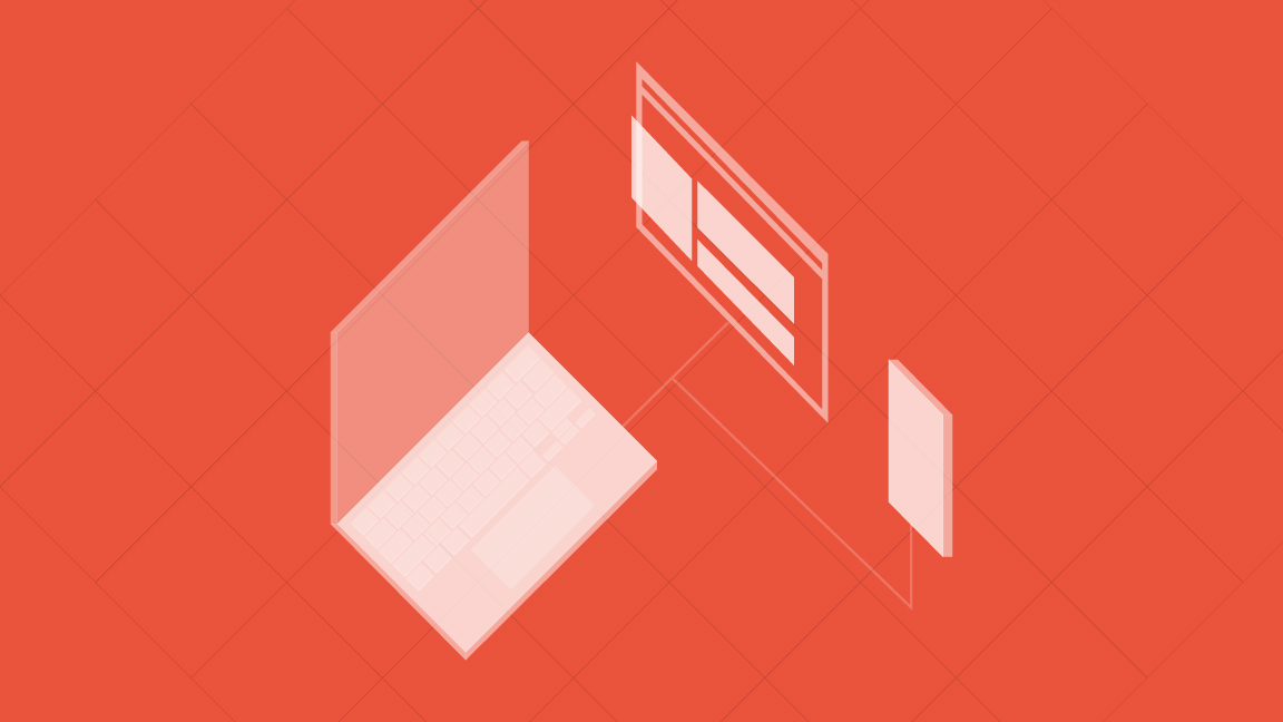 Illustration of a website on a laptop, tablet, and phone in isomorphic grid layout on red background
