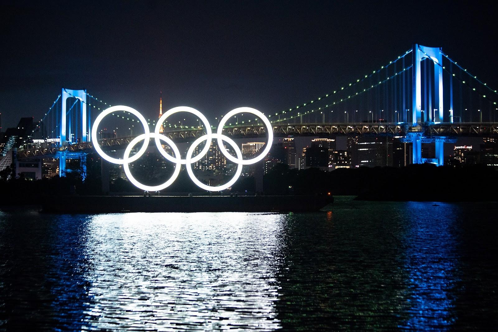 Olympic rings on bridge overlooking Hong Kong river