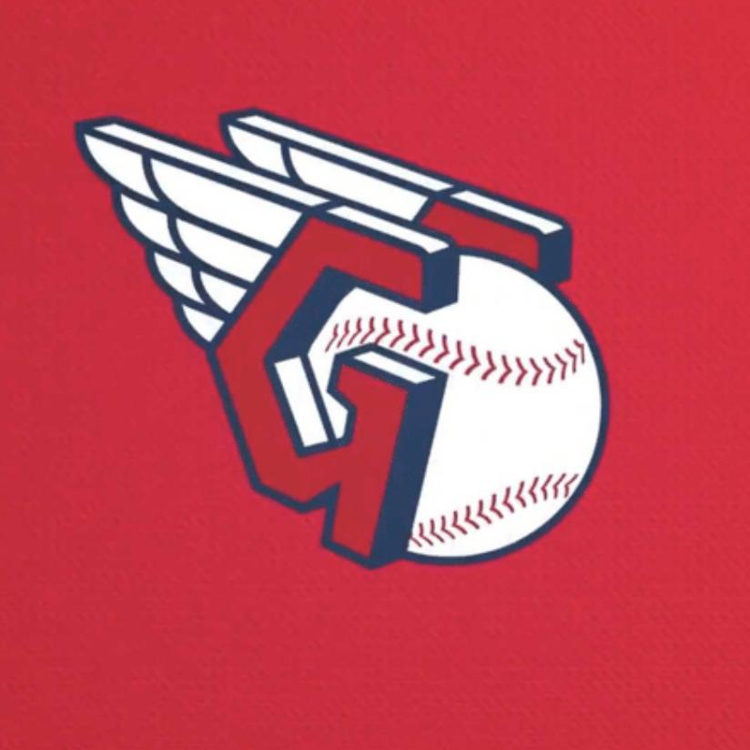 Cleveland Guardians logo on red background