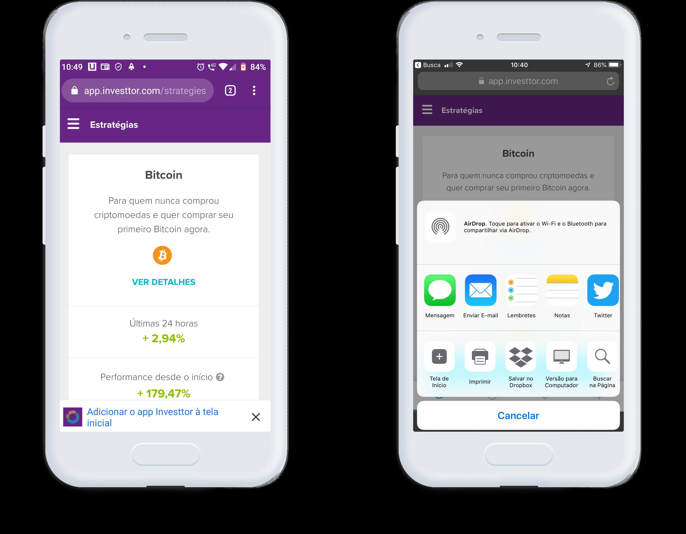 Aplicativos Android e iOS | Investtor