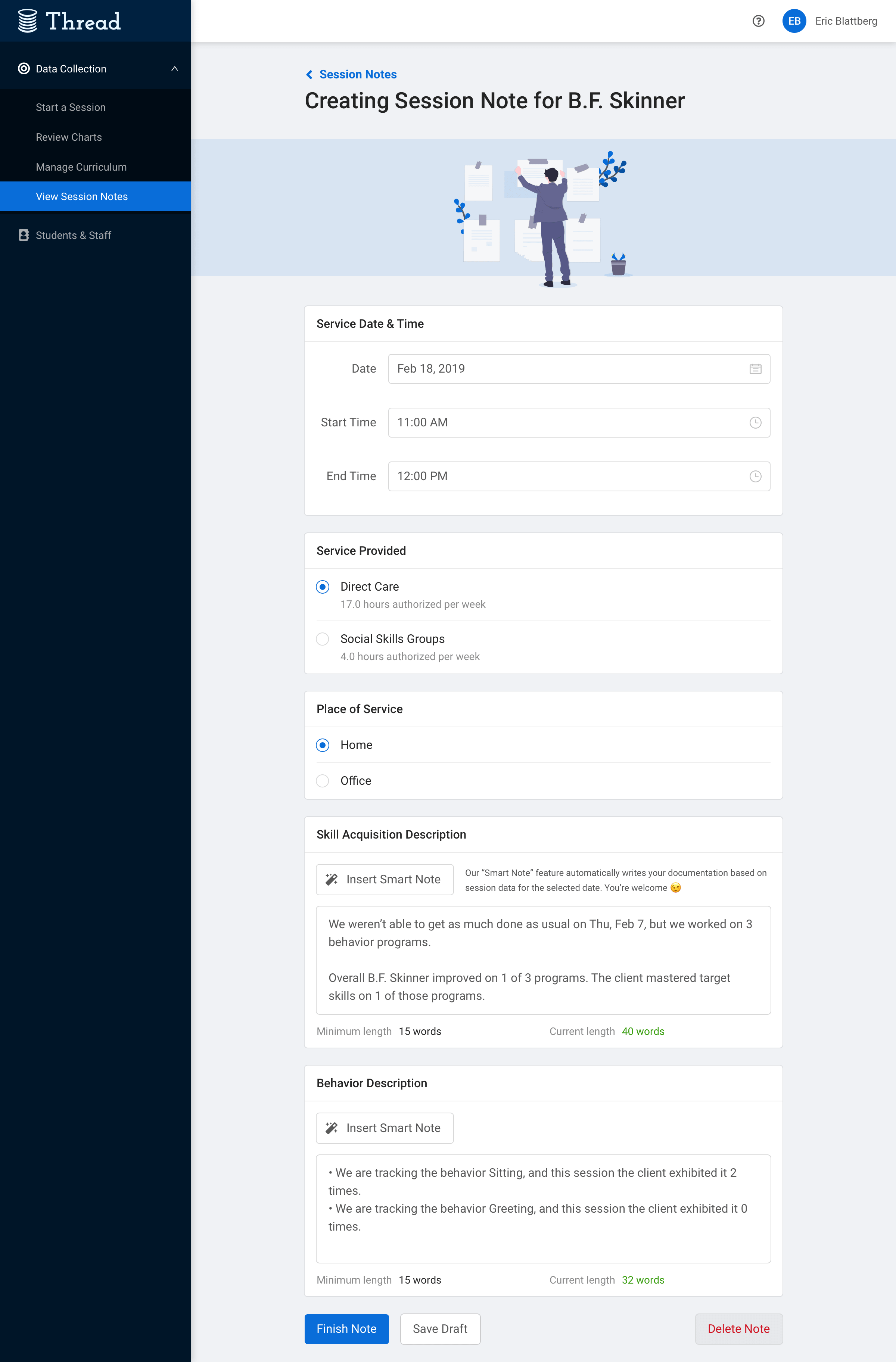 A mockup of Thread's session notes feature, which enables users to automatically generate session notes using the platform's data