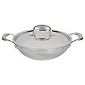 Platinum Triply Stainless Steel Kadai with Lid