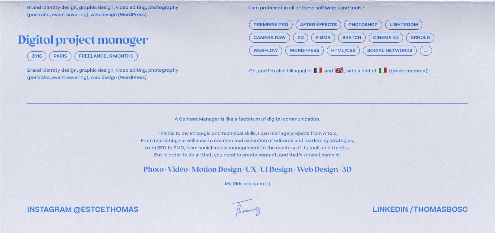 CV Thomas Bosc - Content Manager