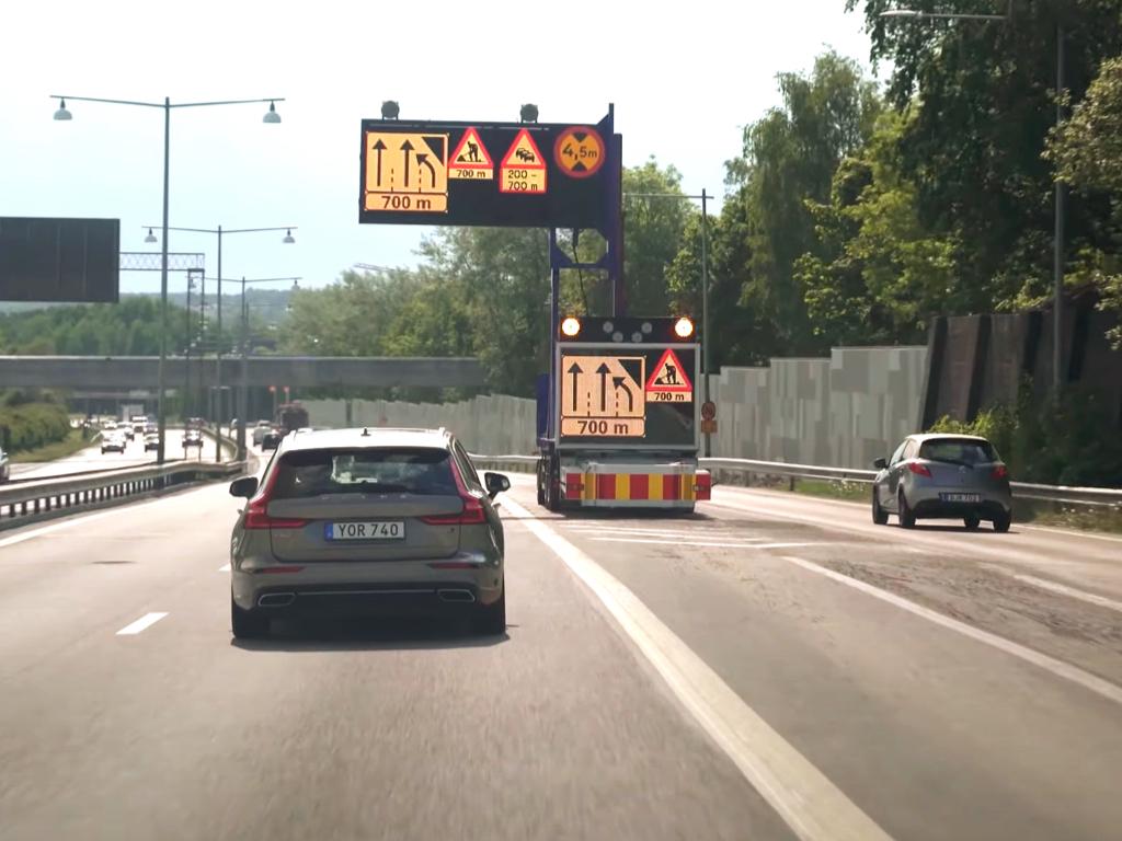 Road work warning