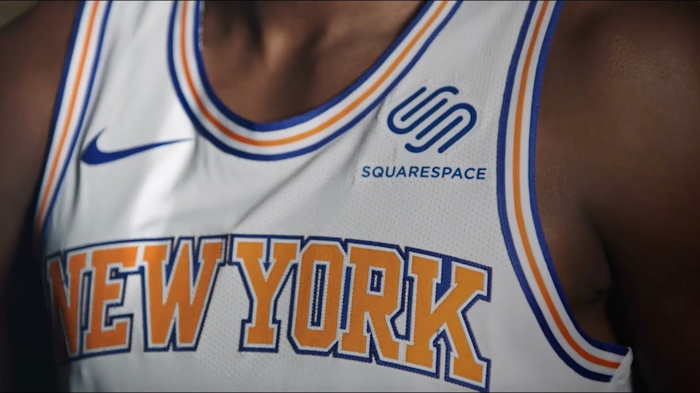 A New York Knicks jersey with the Squarespace logo